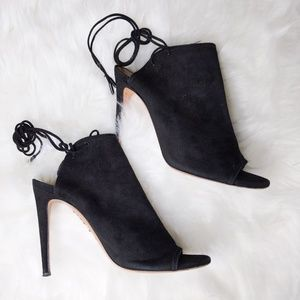 Aquazzura Ankle Boots 38.5 Mayfair Black Suede Tie